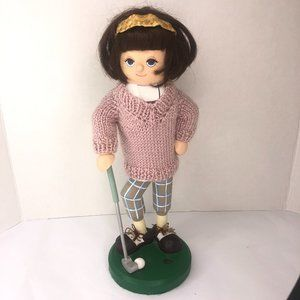 Lady Playing Golf Wooden Figurine